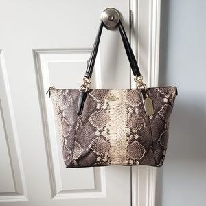 NWOT Coach Snake Leather Handbag with gold trim